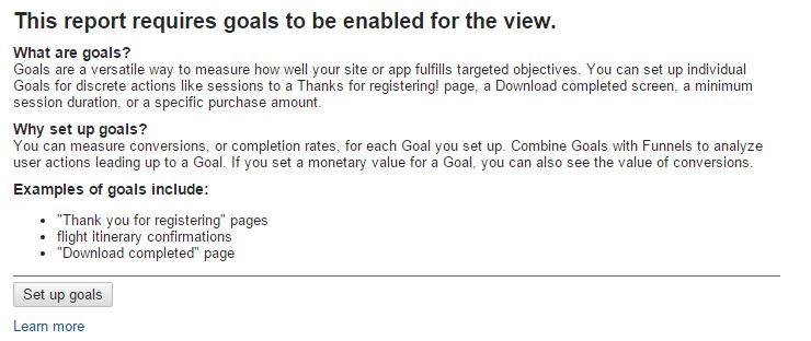 Google Analytics Website Goals Not Defined