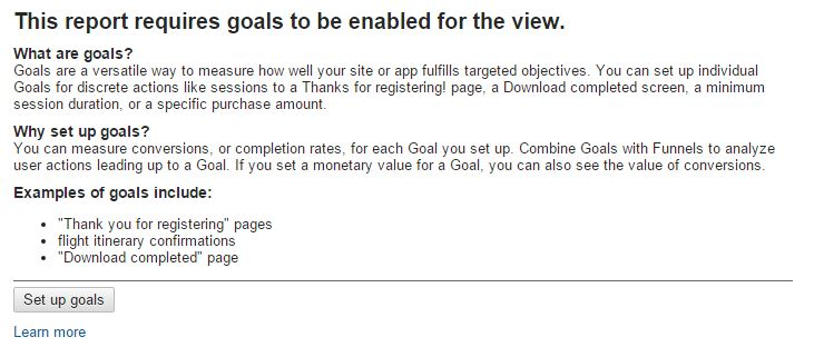 Google Analytics Website Goals Not Defined